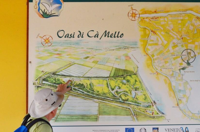 sign for oasi di ca' mello, parco regionale veneto del delta del po, po river delta, italy