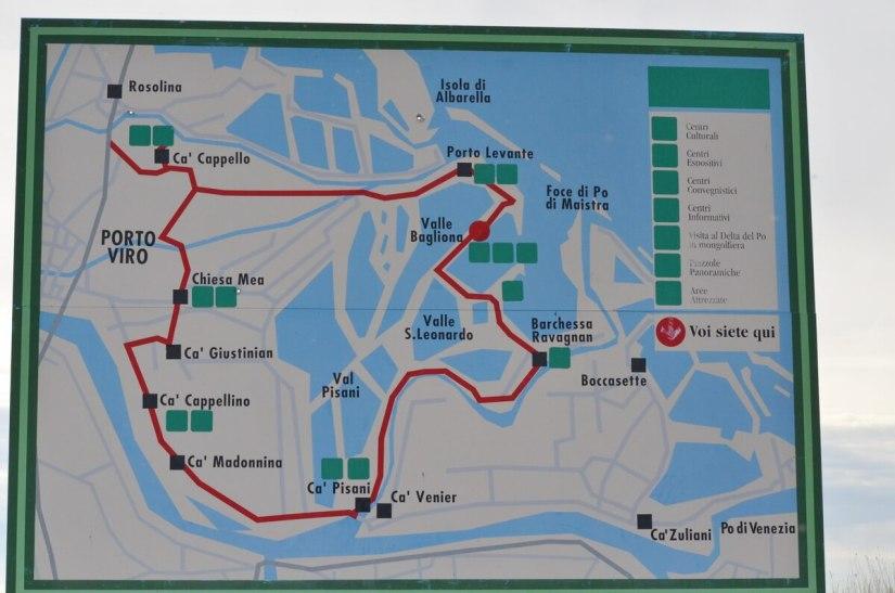 a map of parco regionale veneto del delta del po, po river delta, italy