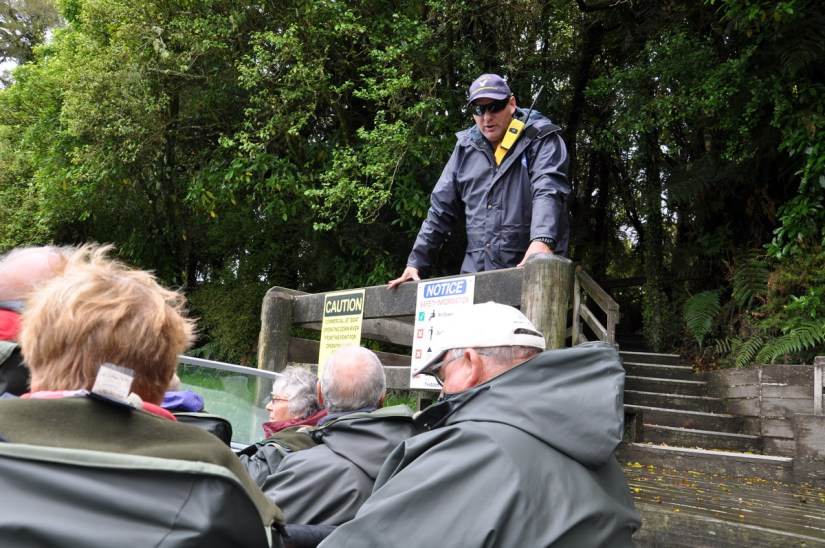 dion gives briefing, white heron sanctuary tours, south island, new zealand