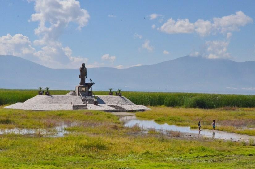 statue jesus pescador, lake chapala, mexico