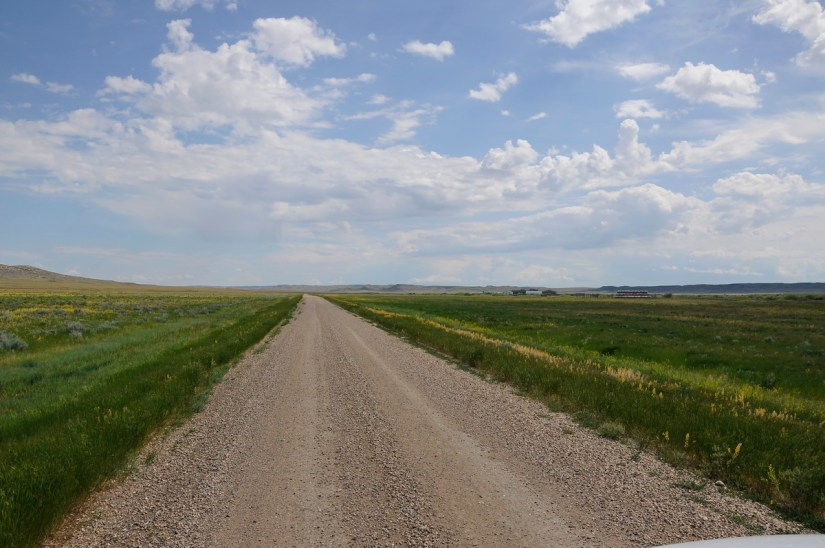 gravel road, grasslands national park, saskatchewan