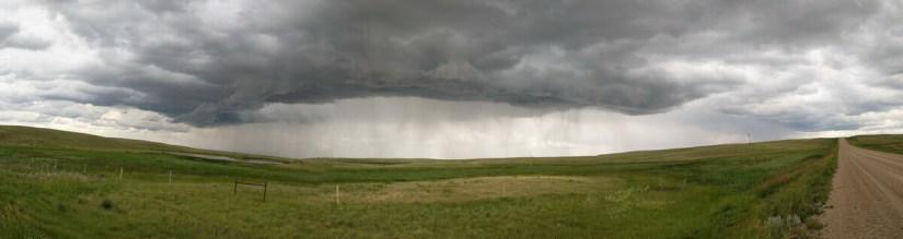 storm clouds over val marie, saskatchewan