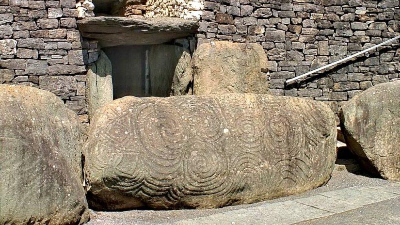 a kerbstone, newgrange, county meath, ireland