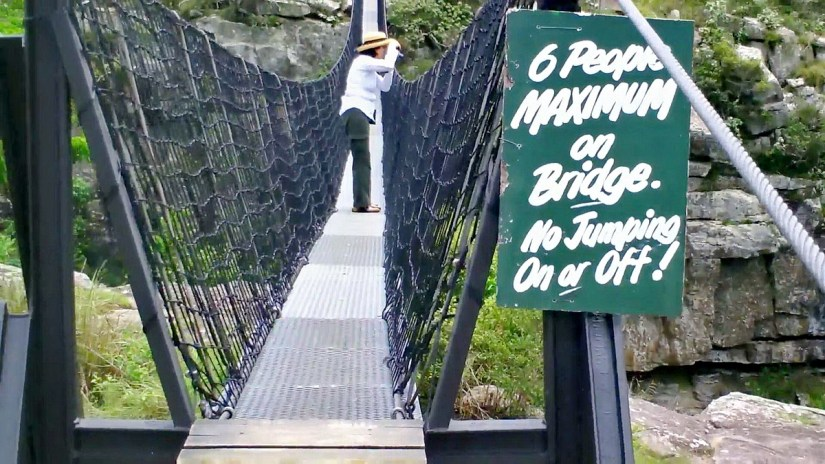 jean on the suspension bridge at oribi gorge, south africa