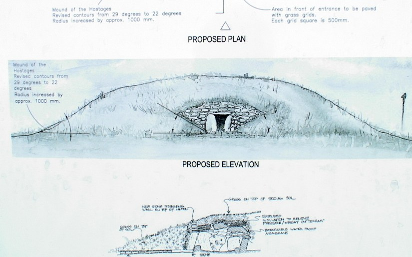 sketch of the interior of the mound of the hostages, the hill of tara, county meath, ireland