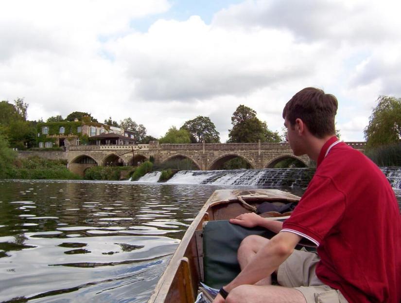 punting to batheaston toll bridge, avon river, bath, england