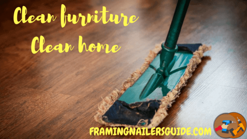Clean the wooden furniture with dry fabric