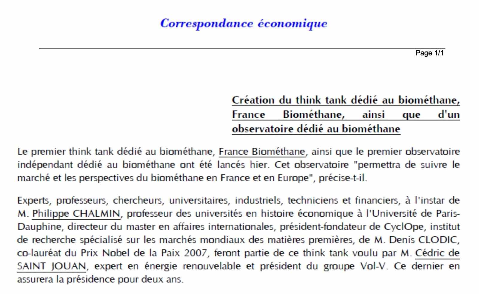 correspondance économique