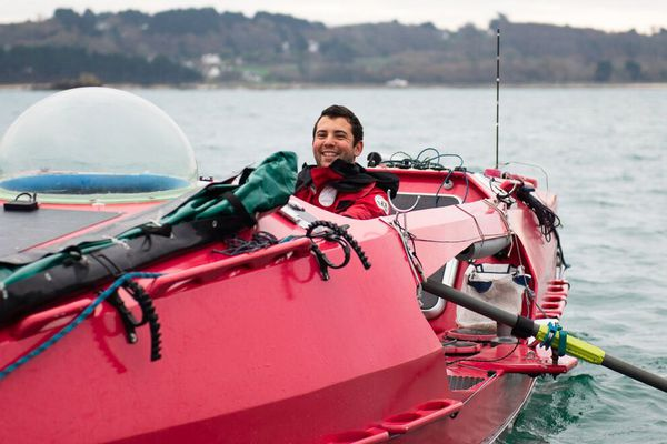 Guirec Soudée : départ à la rame pour une traversée de l'Atlantique, en  solitaire et sans assistance