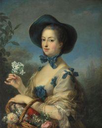 """La marquise de Pompadour, portrait dit """"en belle jardinière"""" - Carle Van Loo (XVIIIème siècle)"""