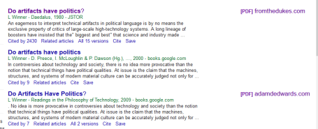Scholar Google search for Do Artifacts have Politics?