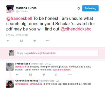 Tweet exchange with Mariana Funes