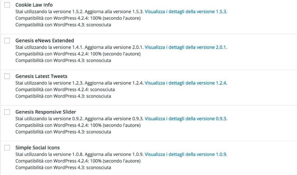 Aggiornamenti WordPress
