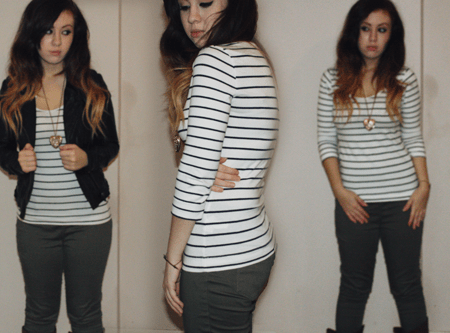 breton top and khaki bottoms with a leather jacket on a girl with ombre hair