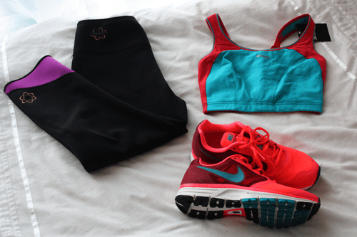 zaggora hot pants work out pants, shock absorber sports bra, and nike trainers on francescasophia.co.uk