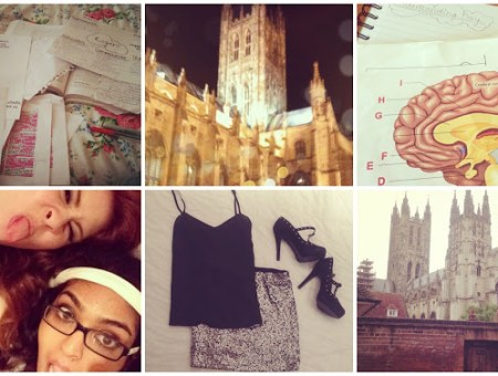 what I wish I'd known at university fresher's tips freshers tips; 6 shots from Instagram. In the first, a bunch of highlighted papers and notes on a bed, in the second a shot of Canterbury Cathedral, in the third a picture of the human brain with labels, in the fourth, francesca sophia with another girl, in the fifth an outfit lying on a bed - a black silk vest, a muted silver sequin skirt, and black t-bar heels with studs, in the final picture another shot of canterbury cathedral