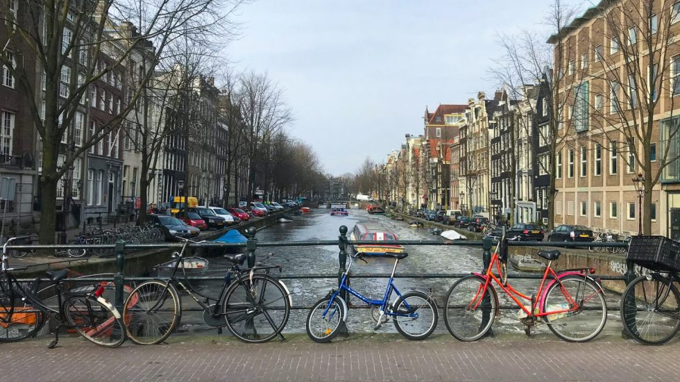 a row of bikes in amsterdam on francescasophia.co.uk