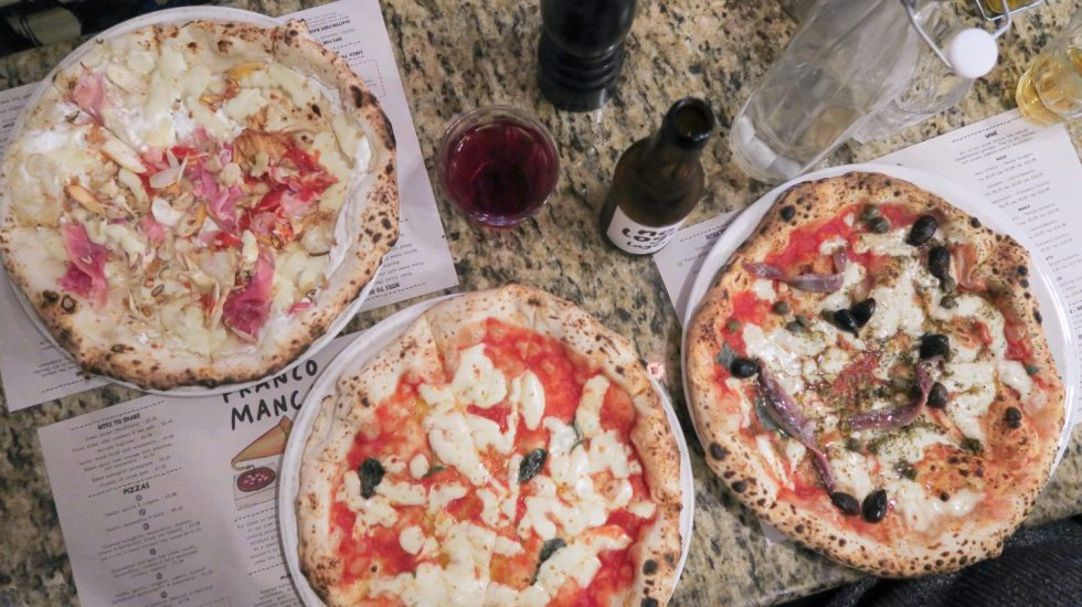 three pizzas on a table at Franco Manca with Time Out More on francescasophia.co.uk
