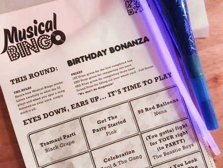 musical bingo card sitting with a neon glowstick Musical Bingo London Shoreditch Review on francescasophia.co.uk