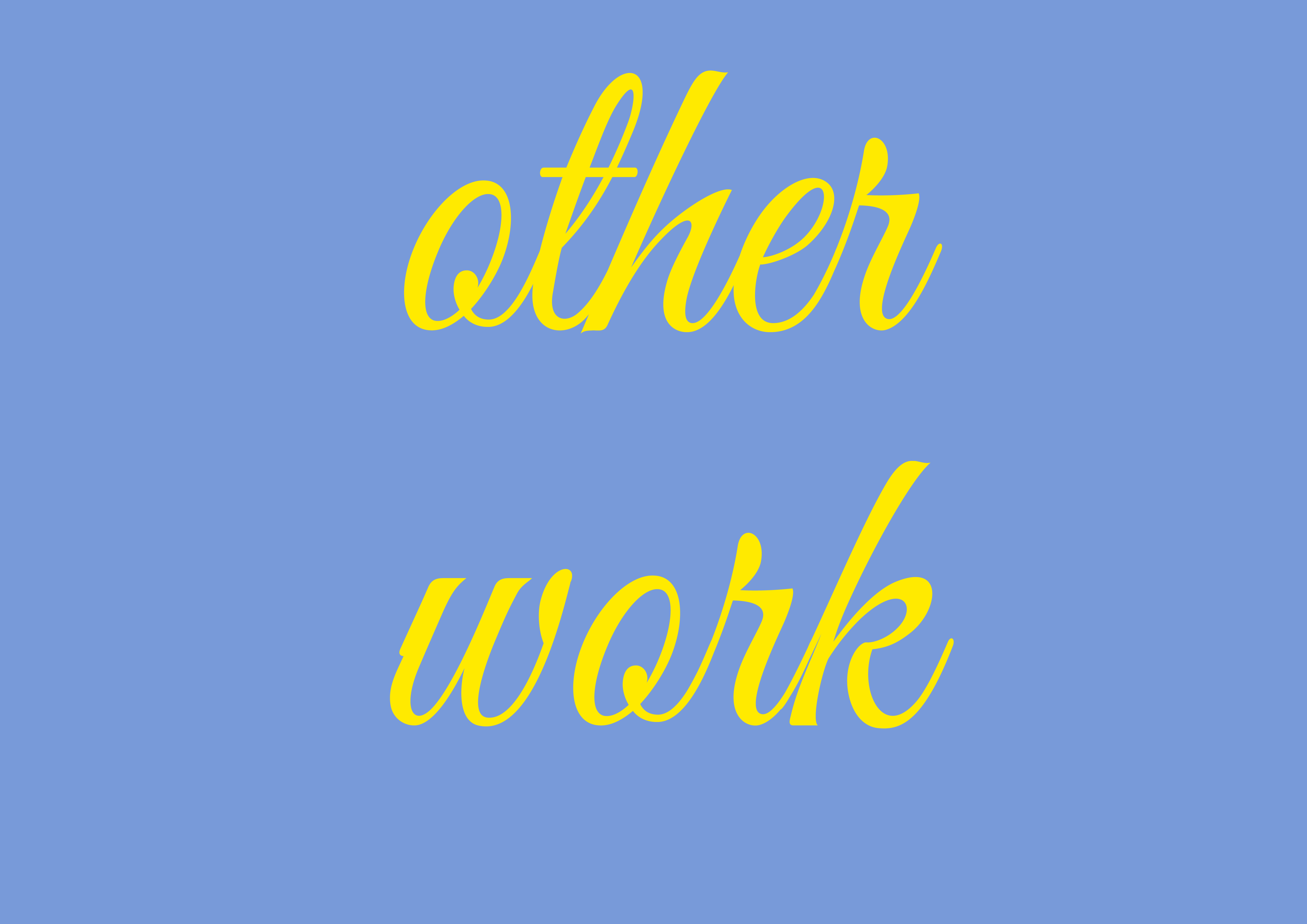 yellow text on blue background 'other work'