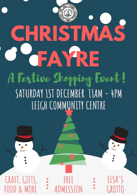 advert for Leigh Community Centre Christmas fayre 2018