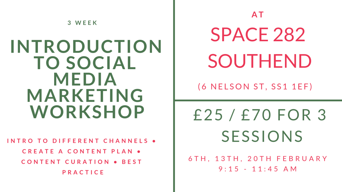 banner advertising a social media marketing workshop at Space282 in Southend-on-Sea in February 2019