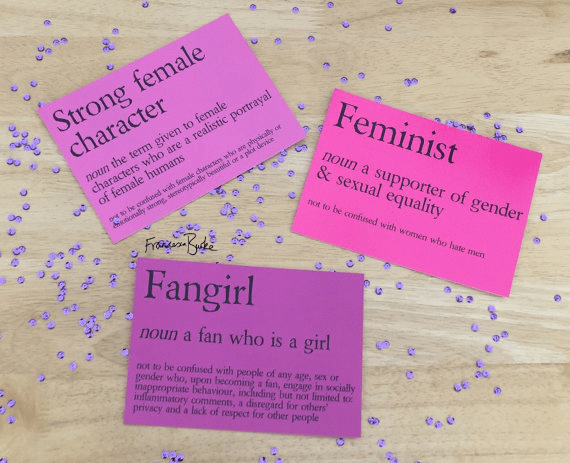 Feminism, Fangirl and Strong Female Character definition prints from Civil Writes collection
