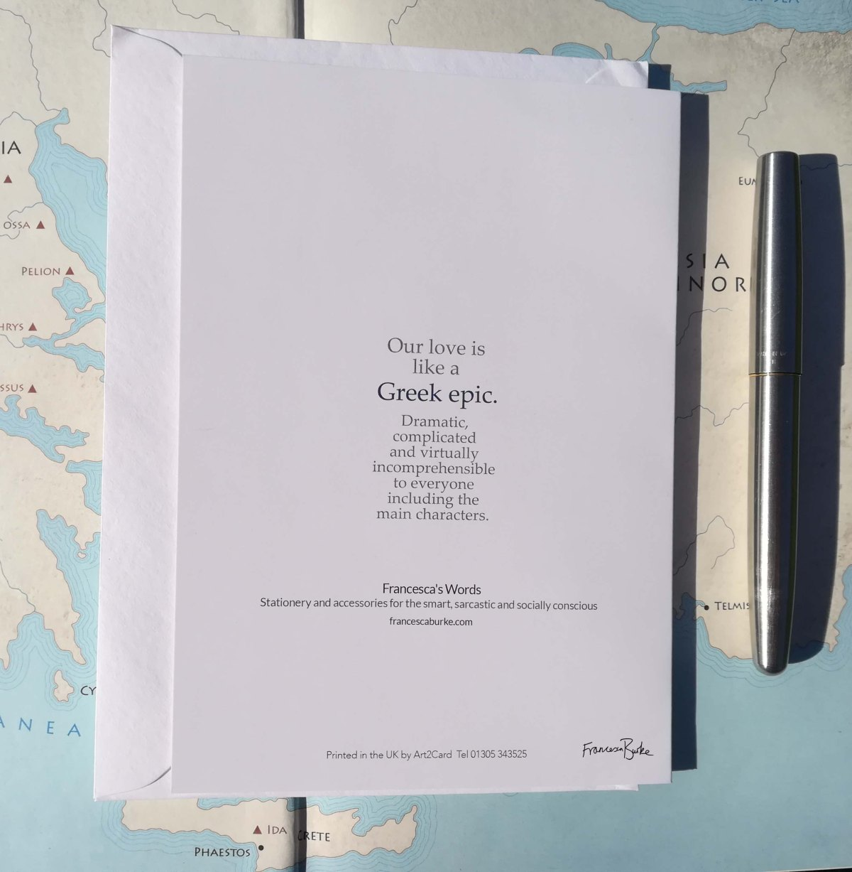 Back of 'Our Love is Like a Greek Epic' card
