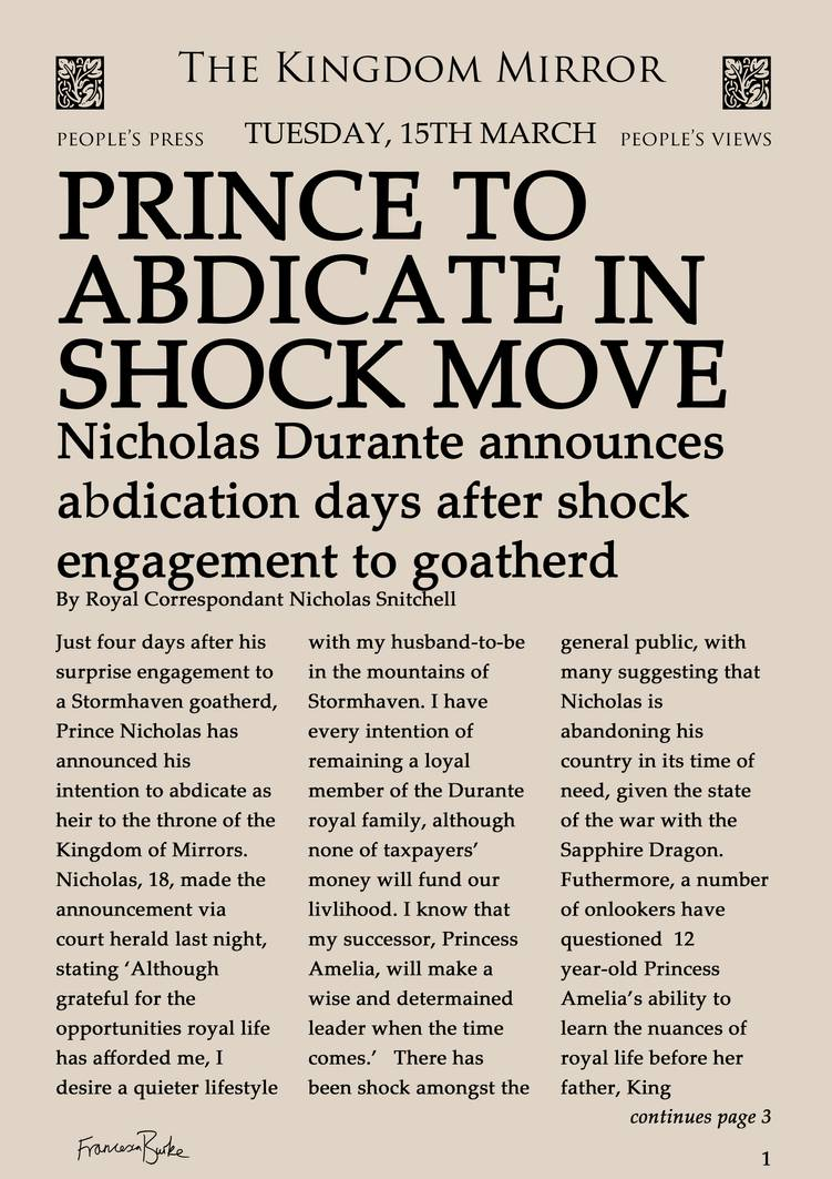 Fake article entitled 'Prince to abdicate in shock move'