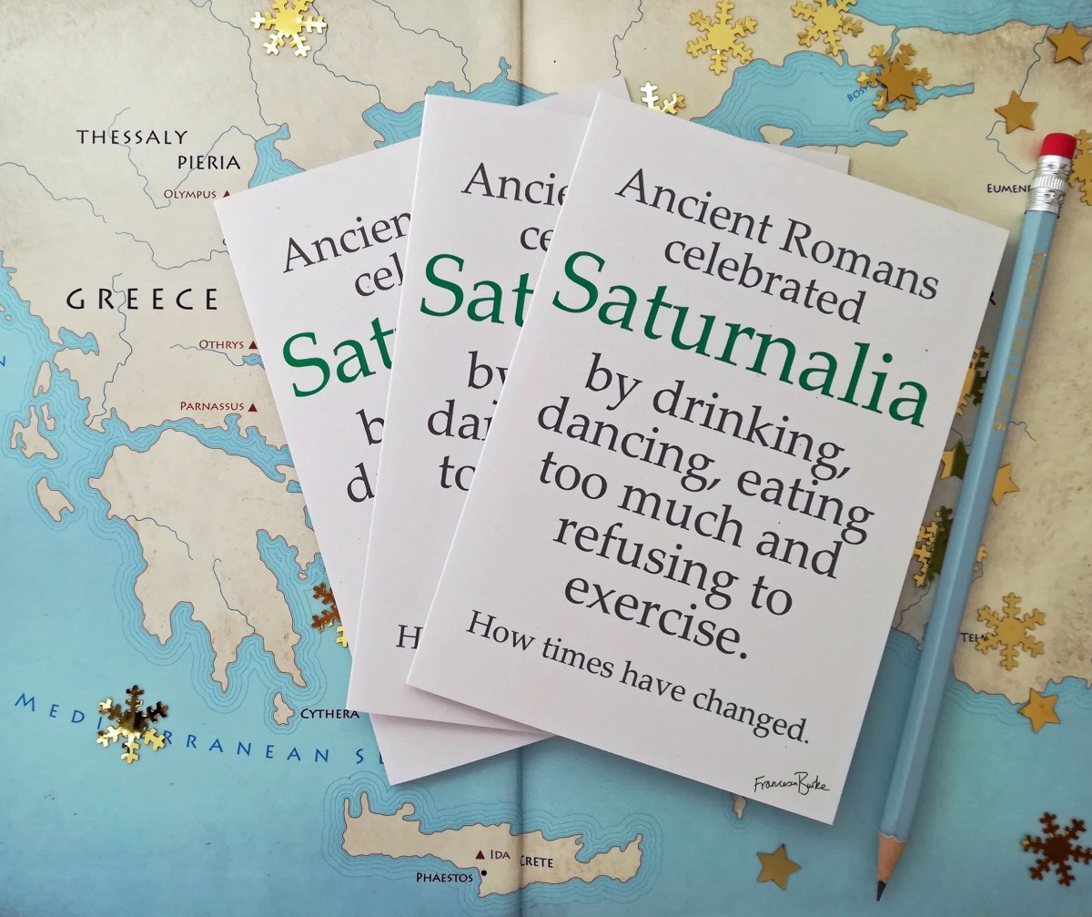 mythology cards with sarcastic message about Saturnalia
