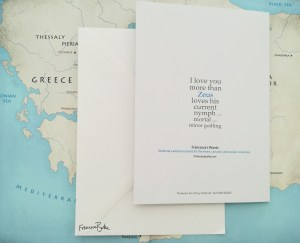 back of greetings card reading I Love You More than Zeus Loves...