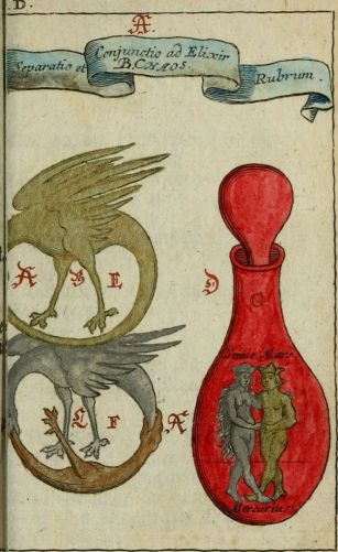 compendio alchemico pandora explicata del 1706 di johann michael faust con l'ouroboros doppio