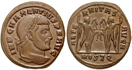 Moneta romana di Massenzio con i Diòscuri sul retro