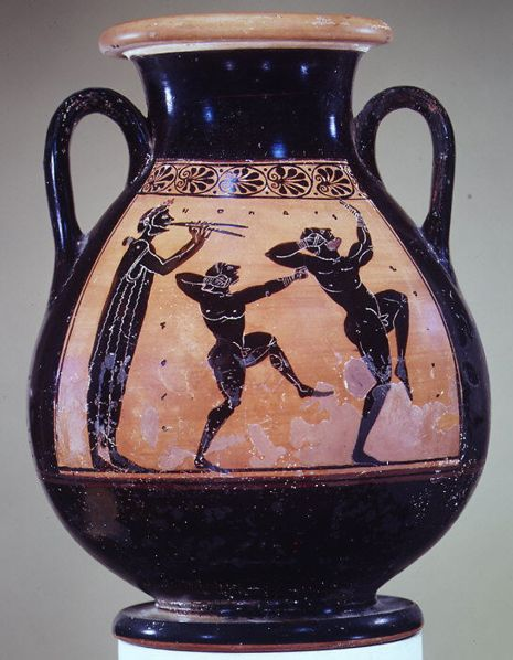 Pelike a figure nere del pittore Acheloos, 510 a. C. Due pugili si allenano al suono del flauto. Metropolitan Museum di New York.