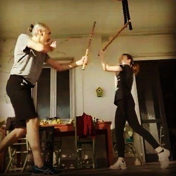 Francesco e Sara Gea Dal Pino bastoni addestramento
