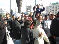 Verbal confrontations between opposition and ennahdha forces; WSF 2013, opening march, Tunis; photo by Frances Hasso