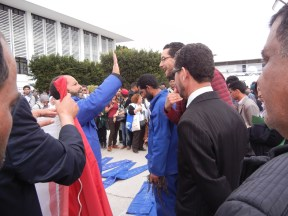 These workers were Injured and want restitution from Tunisian government, Day 2; 27 March; photo by Frances Hasso