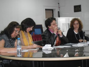 Syrian, Tunisian, and Moroccan feminists discuss nuances of constitutional projects in their countries; moderated by a Lebanese activist, 27 March; photo by Frances Hasso