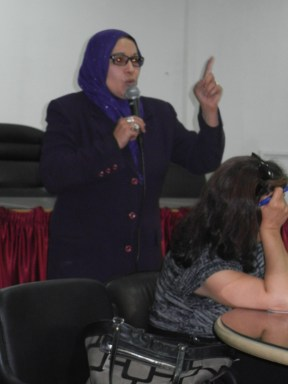 Libyan feminist asks about how to fight for women's political representation; 27 March 2013; photo by Frances Hasso