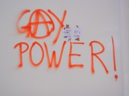 Anarchist gay power at WSF, at least on the wall; 29 March 2013; photograph by Frances Hasso