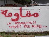 """""""Resist: The Revolution is Not Over;"""" Tunisia, World Social Forum, 30 March 2013; photo by Frances Hasso"""
