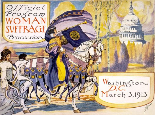 This is an illustration for the Official Program Woman Suffrage Procession in Washing DC on March 3, 1913