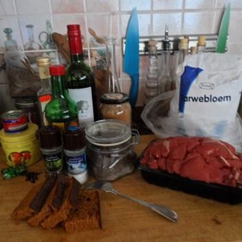 Ingrediënten voor de hachee