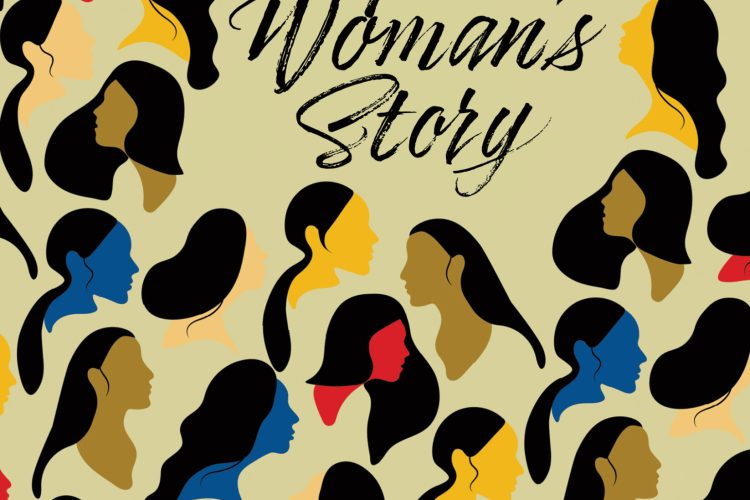 Front cover for Francine Rodriguez' upcoming short story collection. Many multi-colored women's heads in silhouette are dotted around a beige background. The title A Woman's Story, and the author's name, Francine Rodriguez appear in a slanted, stylized font.