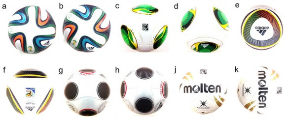 Dibujo20140607 soccer balls used for the test and their panel orientations - srep05068-f2