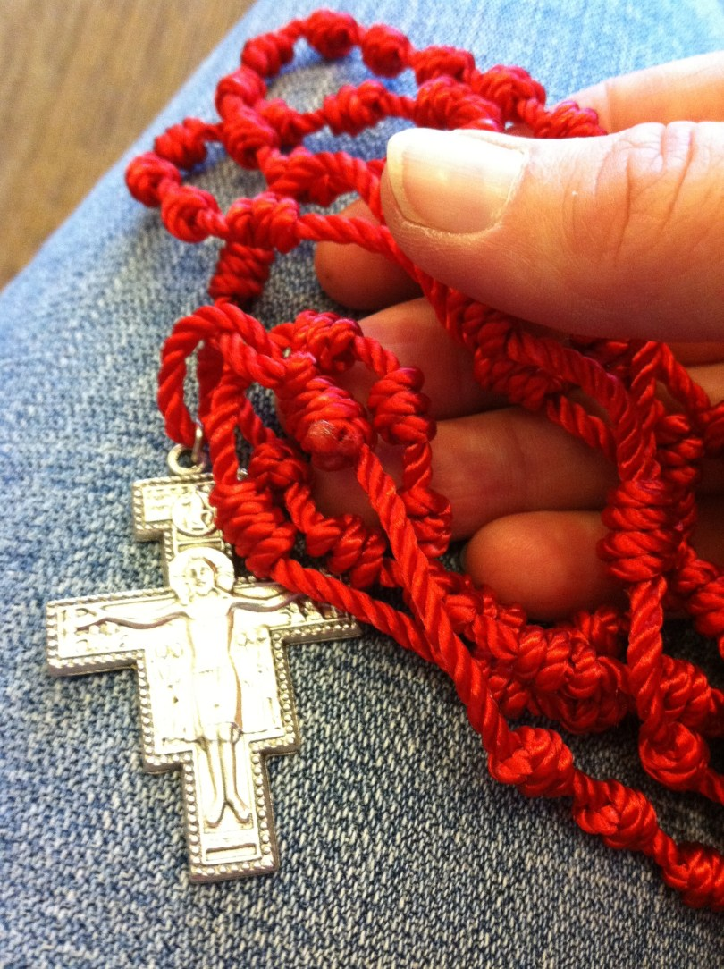 """My favorite """"pocket Rosary."""" Durable. Washable. And with a Franciscan touch!"""