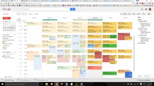 Here's what this week looks like. Some colors are for work. Dark red and orange are TheKid, and light blue is mine.