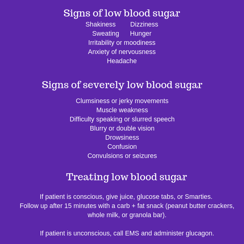 Signs of low blood sugar