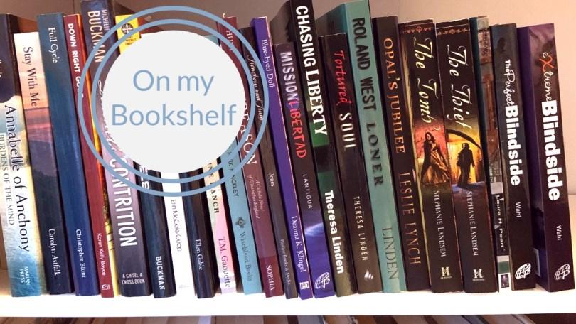 On my bookshelf with shelf of Catholic fiction