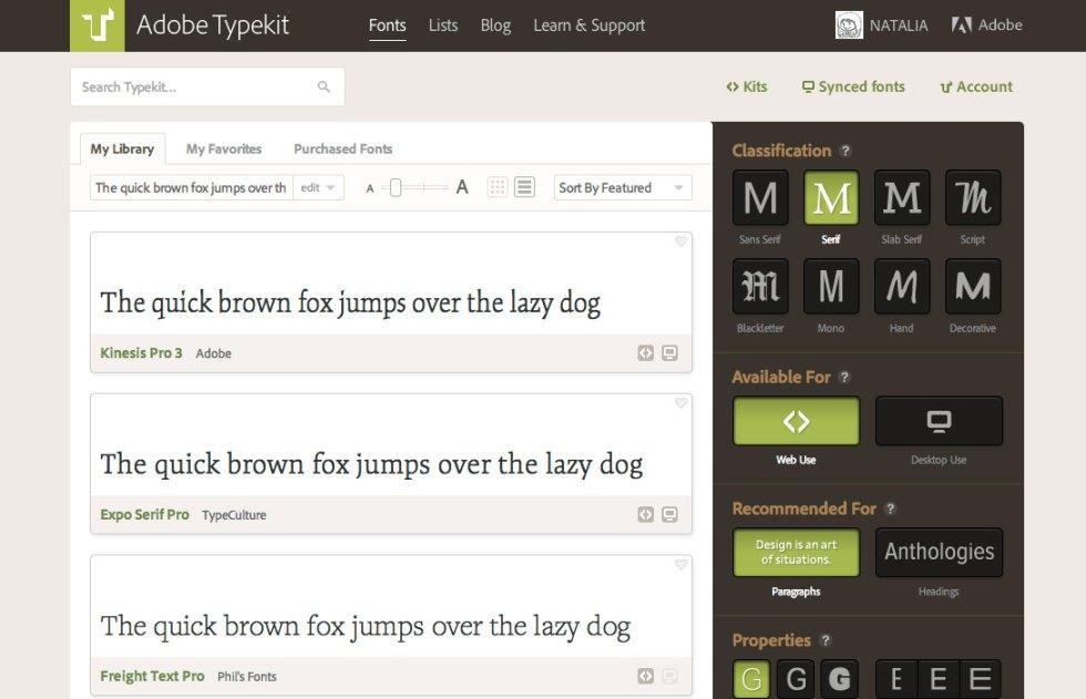 Filtrar fuentes typekit